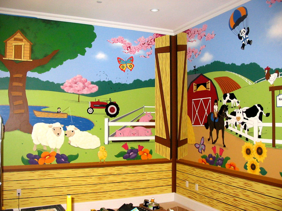 Farm animals once upon a painted wall for Barnyard wall mural