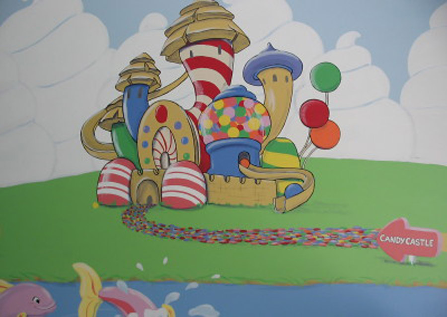 handpainted murals once upon a painted wall candyland giant wall decal and standup kit